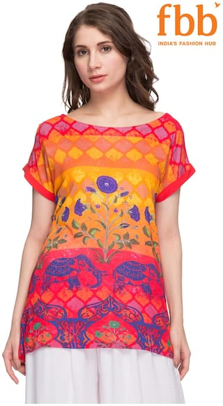 Srishti Women Rayon Printed - Regular top Red