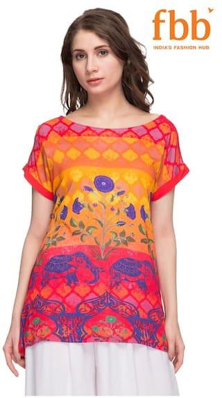 Srishti Women Rayon Printed - Regular Top Red