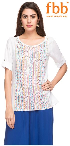 Srishti Women Rayon Polka Dots - Regular Top White