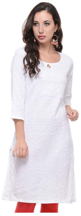 Sritika Women Cotton Solid A line Kurta - White