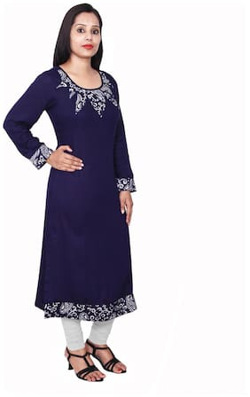Sritika Women Rayon Printed Straight Kurta - Blue