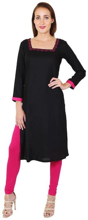 Sritika Women Rayon Solid A line Kurti - Black