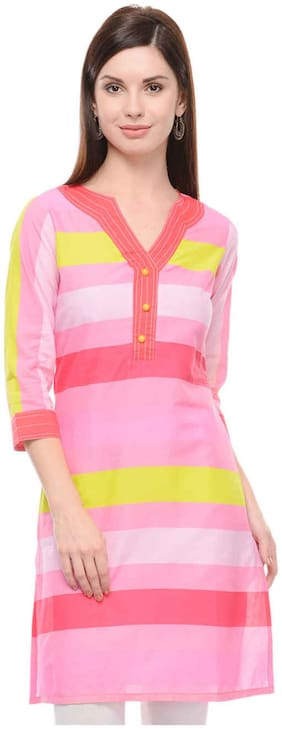 Sritika Women Cotton Striped A line Kurti - Multi