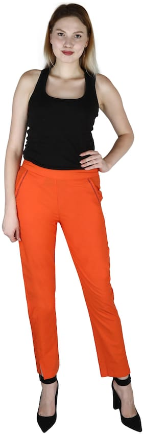 Sritika Orange Cotton Women's Trouser