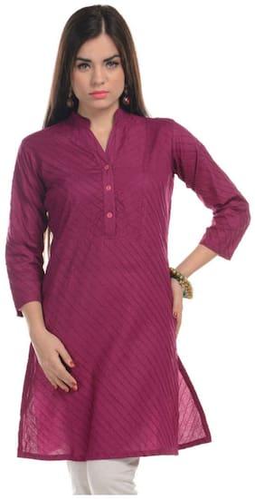 Sritika Women Purple Solid A Line Kurta
