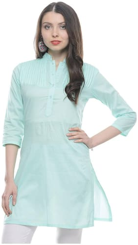 Sritika Women Cotton Solid A line Kurti - Blue