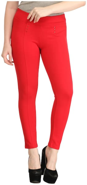 Sritika Women Red Straight fit Jegging