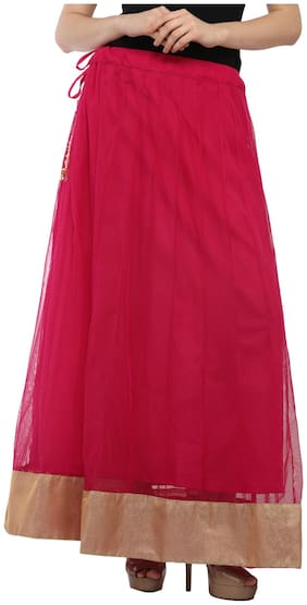 Sritika Solid Assymetric skirt Maxi Skirt - Red