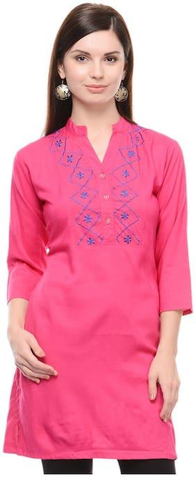 Sritika Women Rayon Embroidered A line Kurti - Pink