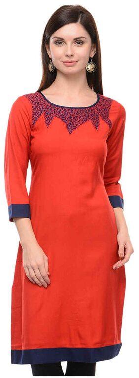 Sritika Women Rayon Solid A Line Kurti - Red