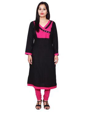Sritika Women Rayon Straight Kurti - Black
