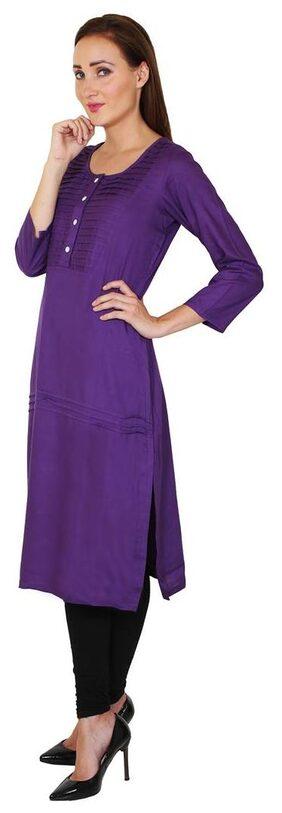 Sritika Women Rayon Solid A Line Kurta - Purple