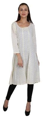 Sritika Women Cotton Printed Anarkali Kurta - White