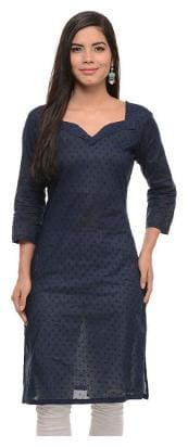 Sritika Women Cotton Solid Straight Kurta - Blue