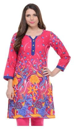 Sritika Women Cotton Printed Straight Kurta - Pink