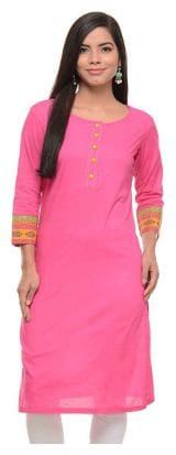 Sritika Women Pink Solid Straight Kurta