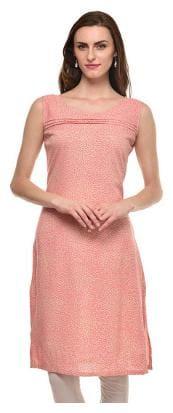 Sritika Women Cotton Printed Straight Kurta - Pink