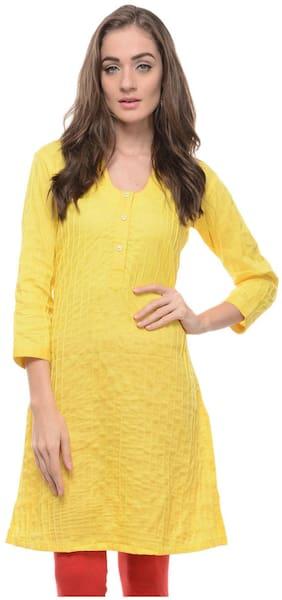 Sritika Yellow Cotton Kurti