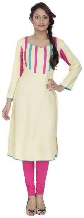 Sritika Women Cotton Solid Straight Kurta - White