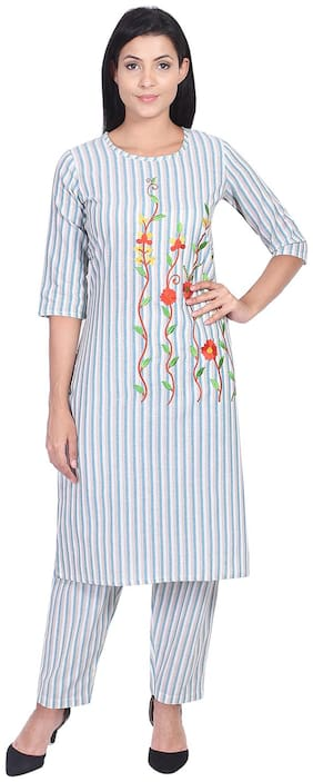 SSARA Women Cotton Kurta With Pants -White