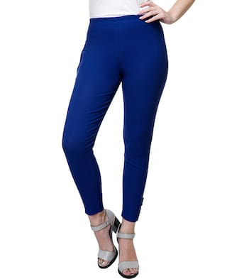 Stanvee Cotton lycra Blend Blue Straight Paint Pants
