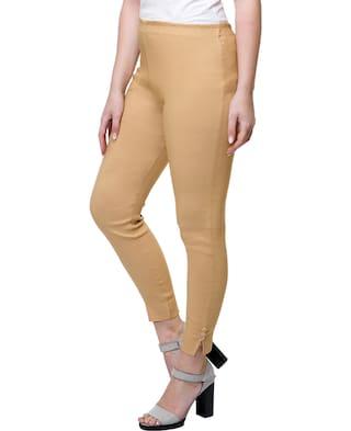 lycra Cotton Paint Pants Straight Stanvee Blend Beige pzwc6q