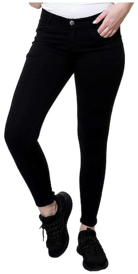 STANVEE Women Slim Fit Mid Rise Solid Jeans - Black