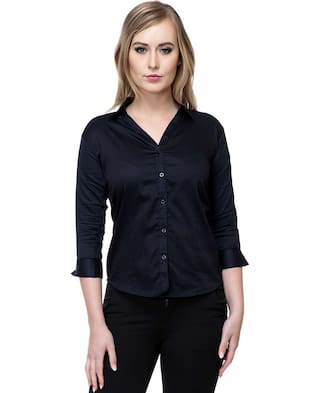 Stanvee Women Cotton Solid Blue Shirt
