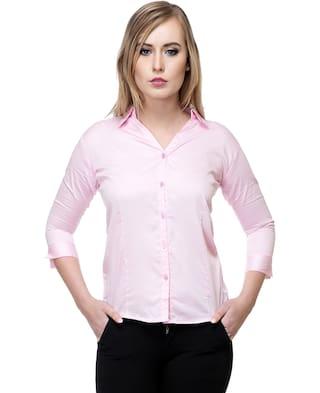 Stanvee Women Cotton Solid Pink Shirt