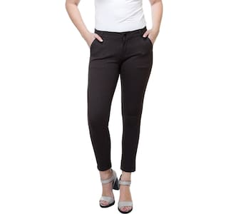 Trouser Cotton rise Solid Stanvee Fit Regular Brown Women Mid TqZwIn8S