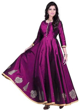 Star creation women's   Women's Semi Stitched Silk Anarkali Party Wear Gown for all types of function