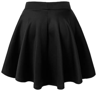 Stars and You Solid Flared skirt Mini Skirt - Black