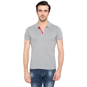 Status Quo Men Slim Fit Polo Neck Solid T-Shirt - Grey