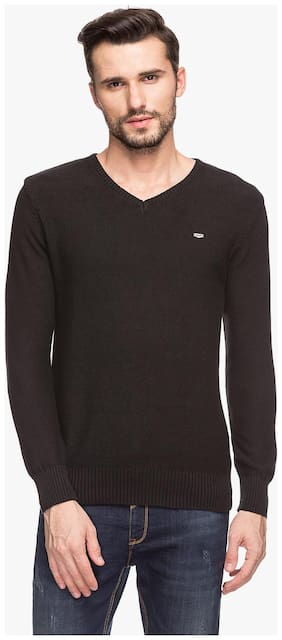 Status Quo Mens Black Slim Fit Sweater