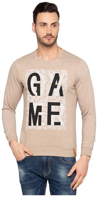 Status Quo Mens Beige Slim Fit Sweatshirt