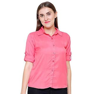 STC Fashion Women's Casual/Formal Roll-up Sleeves Pink Shirts