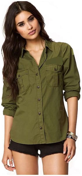 STC Women Green Solid Regular Fit Shirt