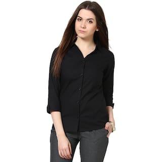 STC Women's Full Sleeves Black Rayon Shirt