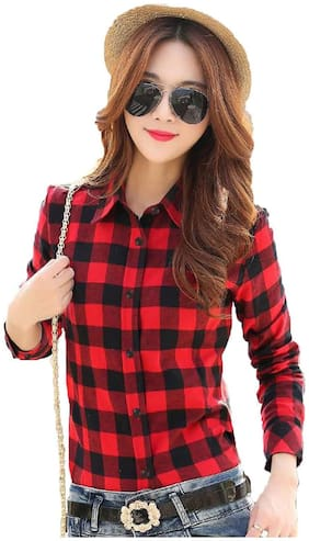 STC Women Slim fit Checked Shirt - Red & Multi