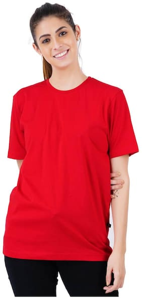 stoovs Women Red Regular fit Round neck Cotton T shirt