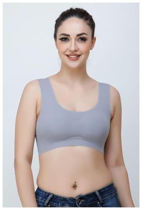 STRAPPS Nylon Solid Grey Racerback Bra  For Women