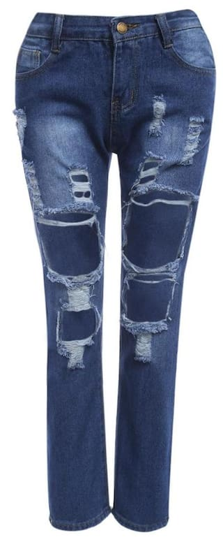 Hole Loose Jeans Street Mid Women Frayed for Waist Style CSq6t