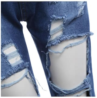 Frayed Hole Waist Street Loose Style for Jeans Mid Women aqZaxtwI