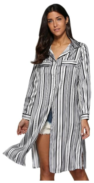 Turn Button Street Allover Style Down Striped Design Blouse Collar Women g5gwZYqrxn