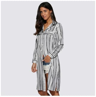 Street Striped Collar Women Turn Design Button Style Down Blouse Allover rTH6rX
