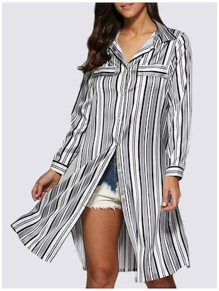 Collar Down Street Women Allover Striped Blouse Design Button Turn Style 7vv1xwTnt