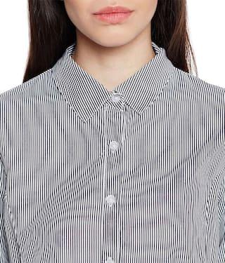 Shirt Striped Assymetric Hem Assymetric Striped Hem wXaUH