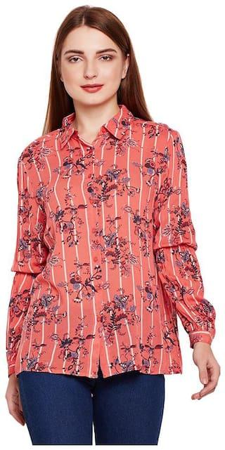 OXOLLOXO Women Pink Printed Regular Fit Shirt