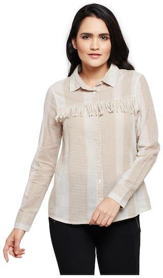 OXOLLOXO Women Beige Printed Regular Fit Shirt