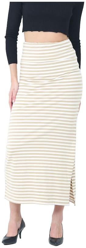 Trend Arrest Printed A-line skirt Midi Skirt - Cream